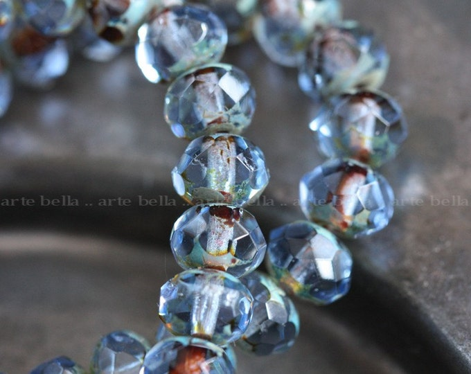 WICKED SKY TOTS .. 10 Premium Picasso Czech Glass Faceted Rondelle Beads 7x5mm (3910-10)