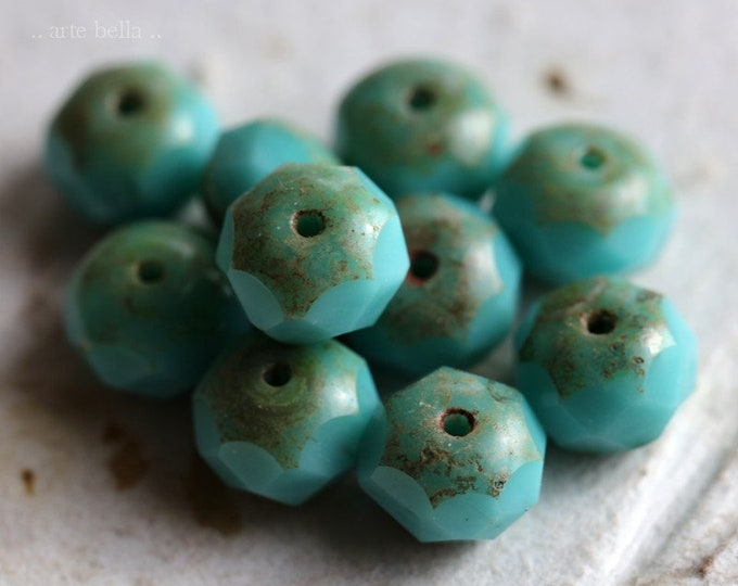 sale .. SIMPLY TURQUOISE .. 10 Premium Picasso Czech Glass Rondelle Beads 6x9mm (7032-10)