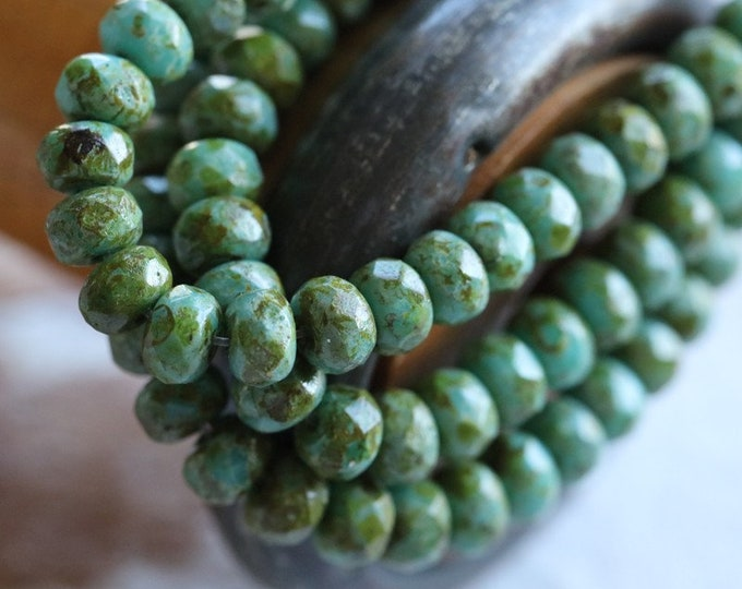 FOREST MOSS BABIES .. New 30 Premium Picasso Czech Glass Rondelle Beads 3x5mm (7657-st)
