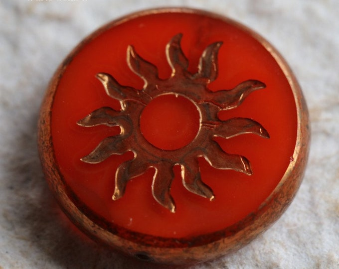 BRONZE PERSIMMON RAYS .. 1 Premium Picasso Czech Glass Sun Coin Bead 22mm (6679-1)