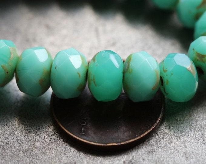last ones .. MIX No. 5031 .. 25 Premium Picasso Mix Czech Rondelle Beads 6x8-9mm (5031-st)