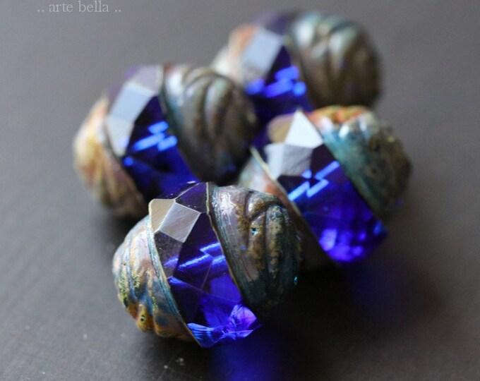SAPPHIRE PLUMPS No. 1 .. 4 Premium Picasso Czech Glass Turbine Beads 13x15mm (6766-4)
