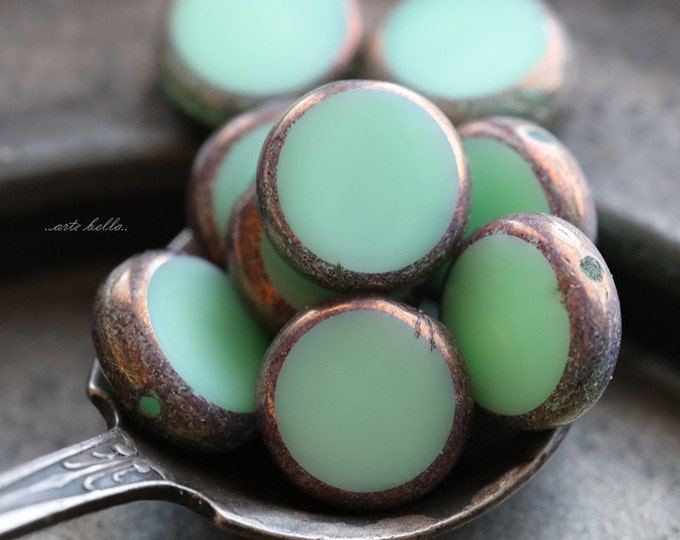 BRONZED MINTS .. 10 Premium Picasso Czech Glass Coin Beads 11mm (5275-10)