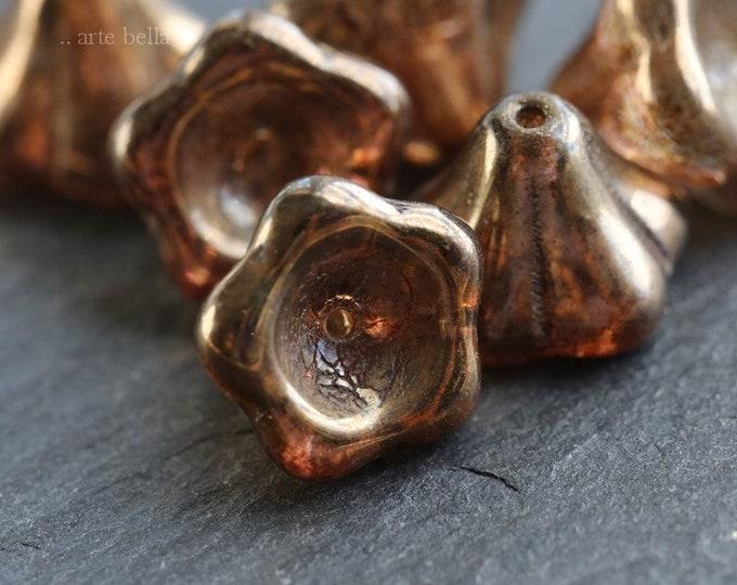 BRONZE PLUM BELLS .. 6 Premium Picasso Czech Glass Flower Beads 11x13mm (6638-6)