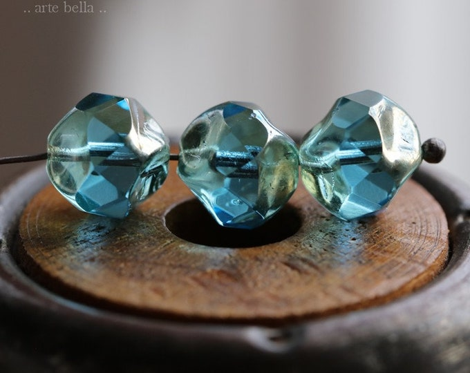 SILVERED AQUA NUGGETS .. New 10 Premium Picasso Czech Glass Central Cut Beads 9mm (7549-10)
