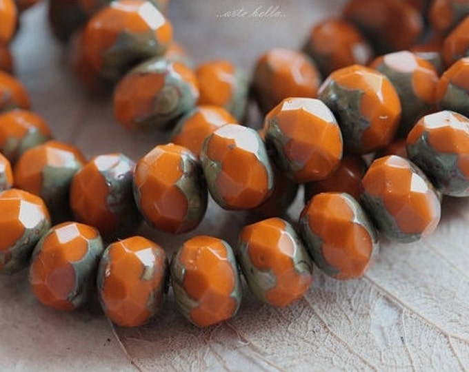 ROASTED No. 2 .. 10 Premium Picasso Czech Glass Rondelle Beads 6x8mm (4767-10)