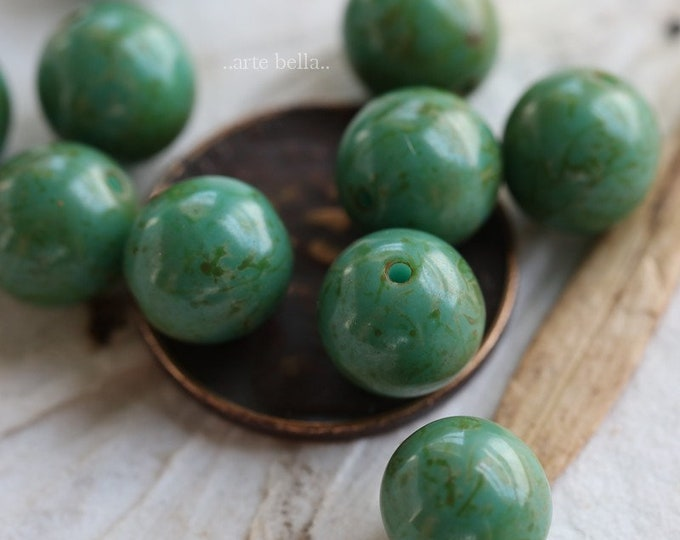 sale .. MOSSY TURQUOISE MARBLES 8mm .. 10 Premium Picasso Czech Glass Druk Beads (6527-10)
