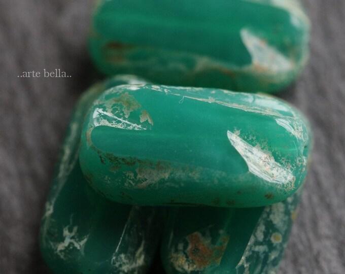 TEAL JOLLYS .. 4 Premium Picasso Czech Glass Rectangle Beads 16x8mm (6623-4)