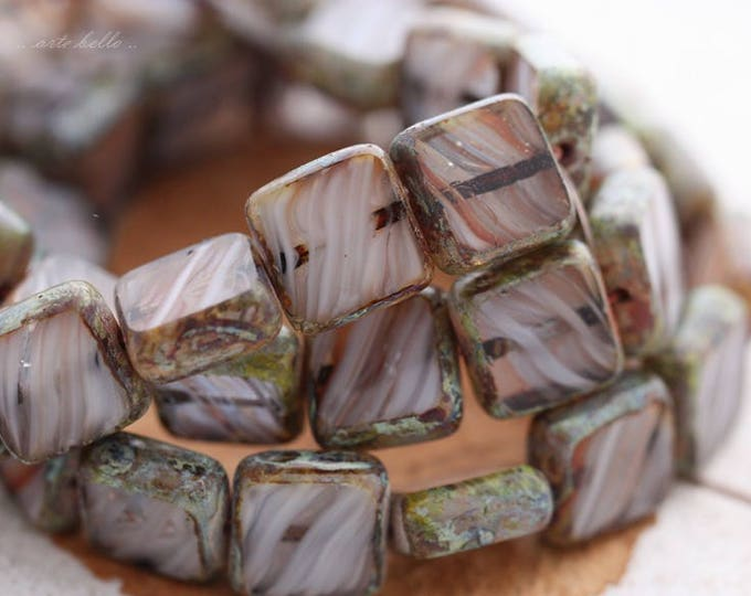 last ones .. BLIZZARD .. 15 Premium Picasso Czech Glass Square Beads 11mm (B1000-15)