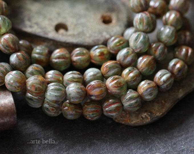 EARTHY GREEN MELONS 4mm .. 50 Premium Picasso Czech Glass Melon Beads (6286-st)