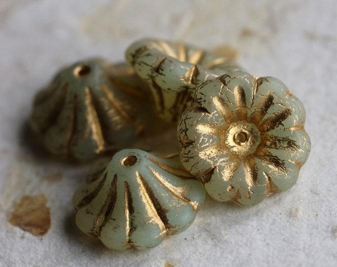 GOLDEN OPAL LILIES .. New 4 Premium Matte Czech Glass Flower Beads 15x8mm (7131-4)