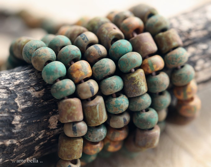 """OLD WORLD SEEDS No. 9030 .. New 20"""" Premium Matte Picasso Czech Glass Aged Striped Seed Bead Mix Size 6/0 (9030-st)"""