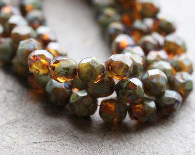 TORTOISE PICASSO PEBBLES .. New 25 Premium Picasso Czech Glass Faceted Round Beads 6mm (8404-st)