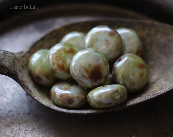 EARTHY MEADOW LENTIL .. 10 Premium Picasso Czech Glass Lentil Beads 10mm (7744-10)