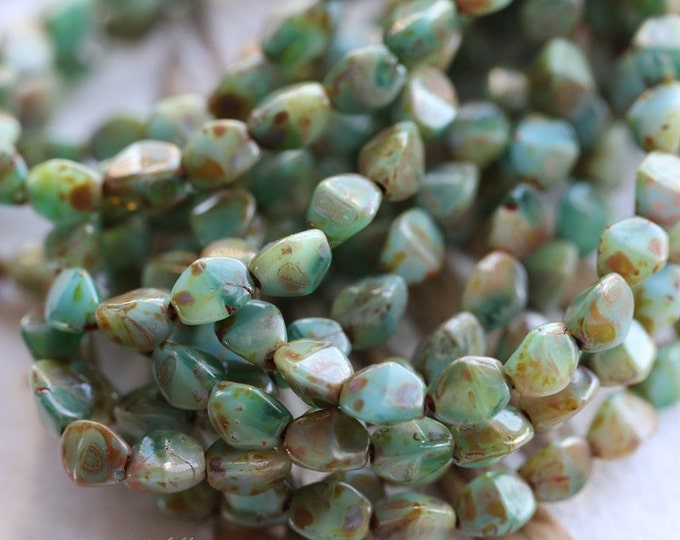 PINCHED SEASHORE .. 30 Premium Picasso Czech Glass Pinch Beads 3x5mm (4991-30)
