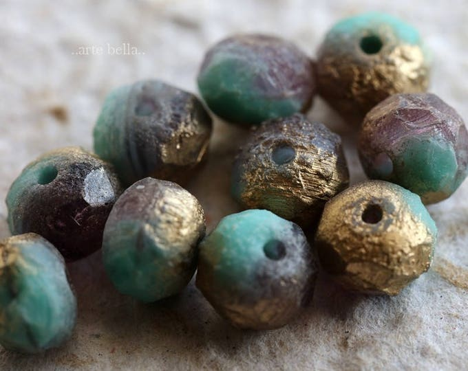 GRAPE TEAL STONES .. 10 Premium Stone Picasso Czech Glass Beads 6x8-9mm (6024-10)
