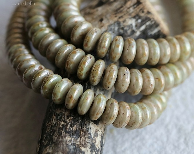 EARTHY SAGE DISCS .. New 50 Premium Picasso Czech Glass Disc Spacer Beads 6x3mm (8743-50)