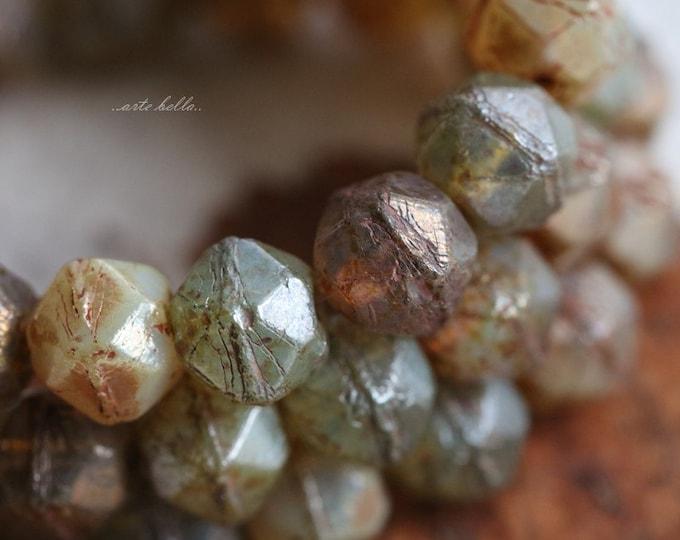 sale .. EARTHY TREASURE MIX No. 2 .. 20 Picasso Czech Glass English Cut Beads 8mm (5606-st)