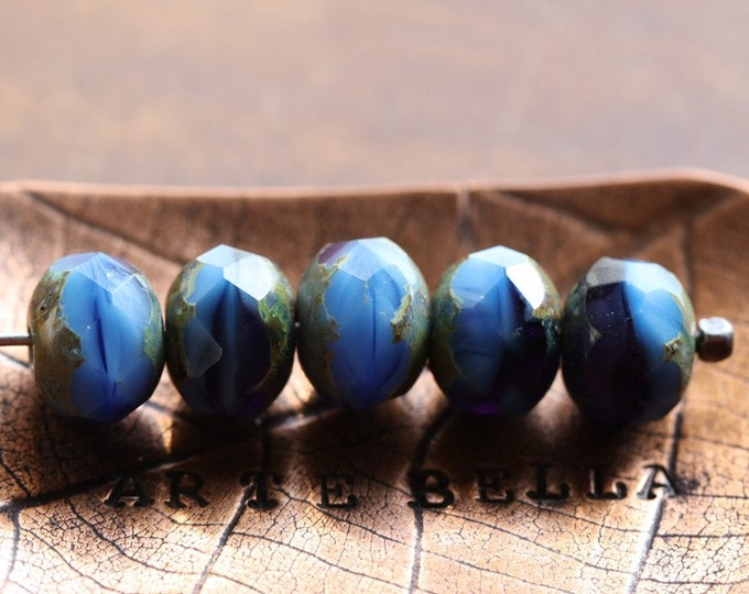NIAGARA .. 10 Premium Picasso Czech Glass Rondelle Beads 6x9mm (7752-10)
