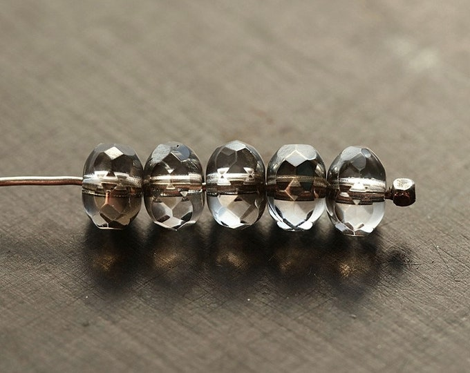 SILVERED MERCURY TOTS .. New 20 Premium Czech Glass Rondelle Beads 4x7mm (8867-20)
