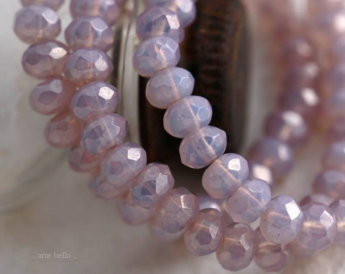 PINK LILAC BABIES .. 30 Picasso Czech Rondelle Opal Glass Beads 3x5mm (5907-st)