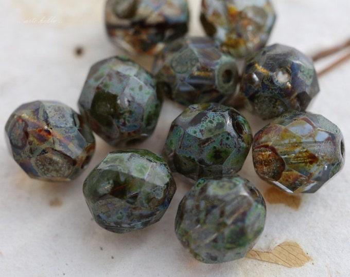 SAPPHIRE POPS No. 1 .. 10 Premium Picasso Glass Czech Bead 8mm (5573-10)