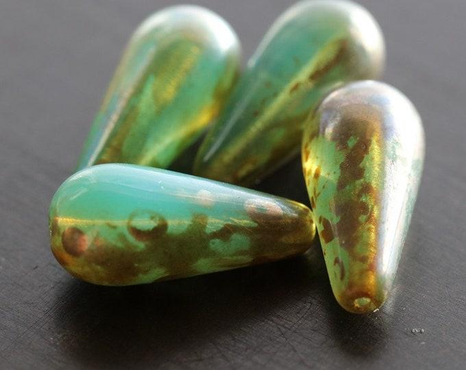 AQUARIUM CHUBETTES .. 4 Premium Picasso Czech Glass Teardrop Beads 20x10mm (5808-4)
