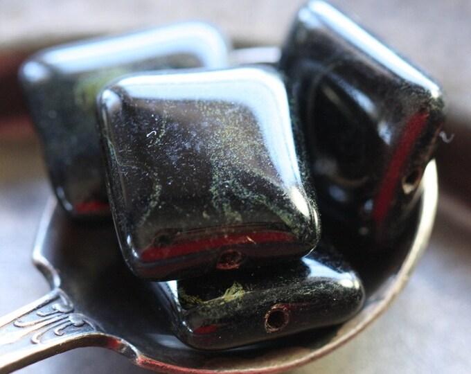 sale .. TWILIGHT SQUARES No. 2 .. 4 Premium Czech Picasso Glass Beads 13x14mm (4597-4)