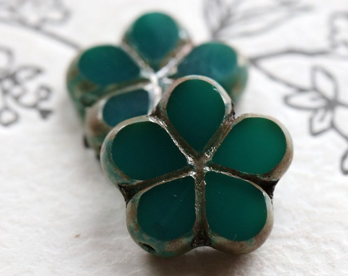 TEAL POSIES .. 2 Premium Picasso Czech Glass Flower Beads 17mm (7275-2)