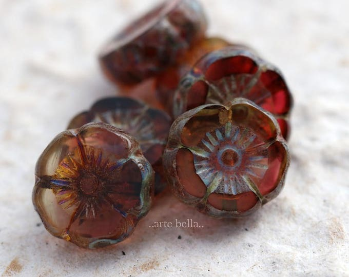 SANGRIA PANSY .. 6 Picasso Czech Glass Flower Beads 12mm (5761-6)