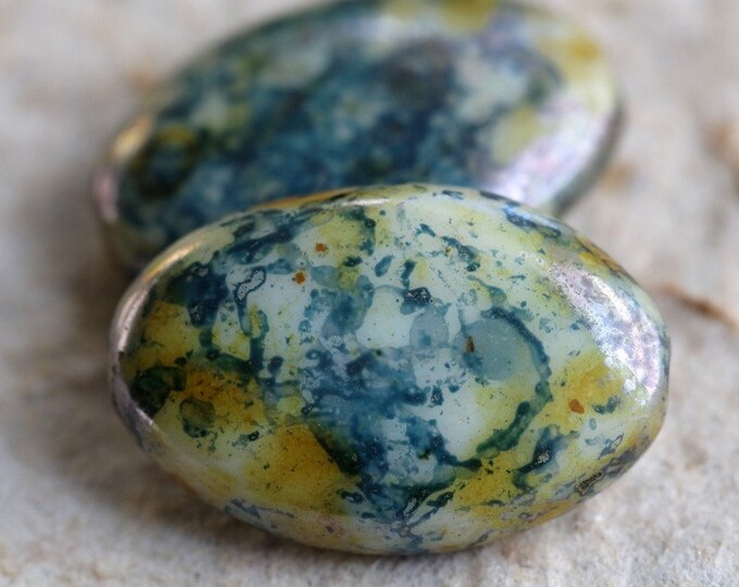 BLUEBERRY CREAM STONES .. New 2 Premium Picasso Czech Glass Oval Beads 20x14mm (7480-2)