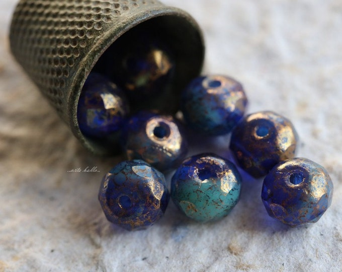 GILDED COBALT .. 10 Picasso Czech Rondelle Glass Beads 7x5mm (5494-10)