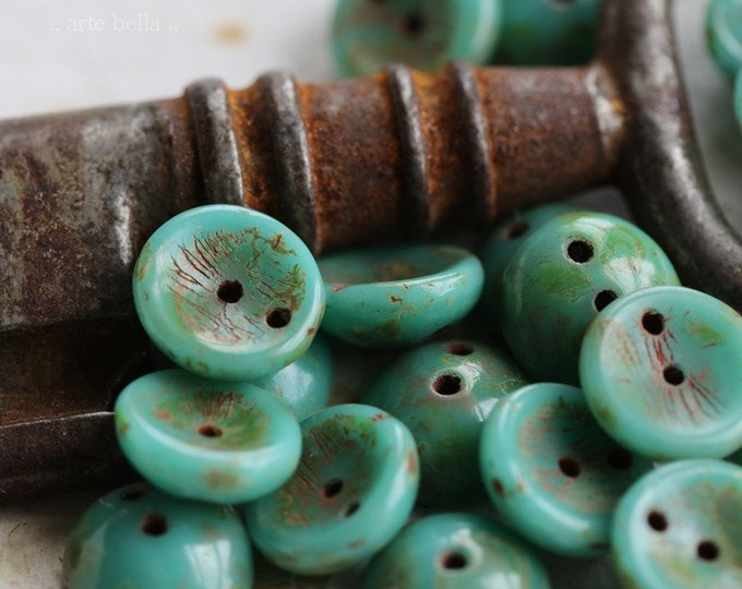 sale .. EARTHY TURQUOISE PIGGY .. 20 Czech Picasso Glass Piggy Beads 8x4mm (6433-20)