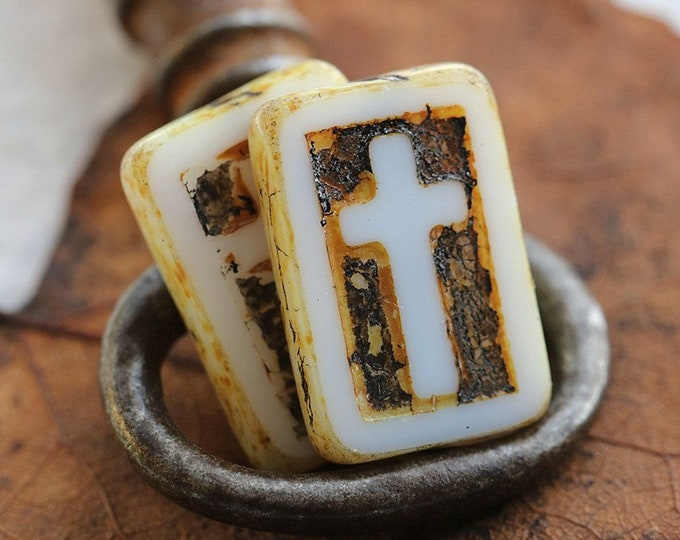 RUSTIC WHITE CROSSES .. New 6 Premium Picasso Czech Glass Cross Rectangle Beads 17x12mm (8618-6)