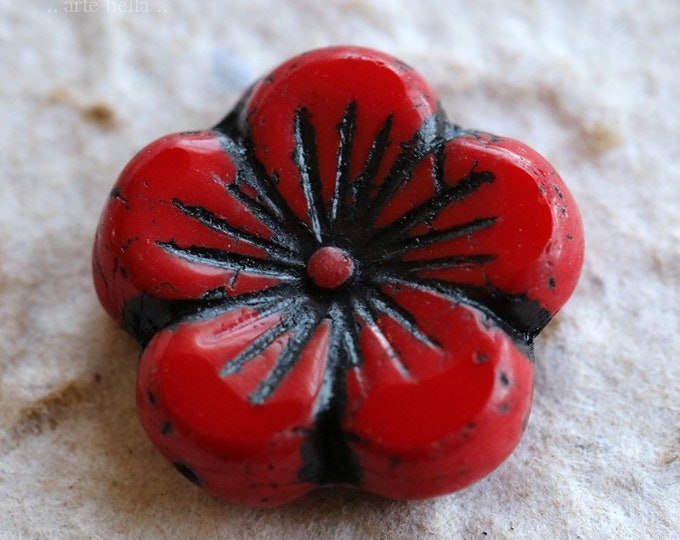 SCARLET HIBISCUS .. 1 Premium Picasso Czech Glass Hibiscus Flower Bead 21mm (6416-1)