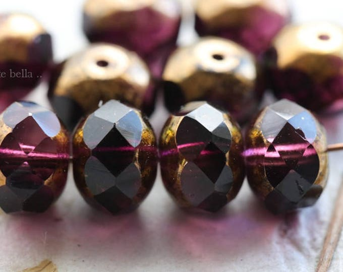 GILDED PLUMS No. 1 .. 10 Picasso Czech Rondelle Glass Beads 6x8mm (6092-10)