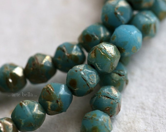 SILVERED SKY NUGGETS 4mm .. 50 Premium Picasso Czech Glass English Cut Beads (6552-st)