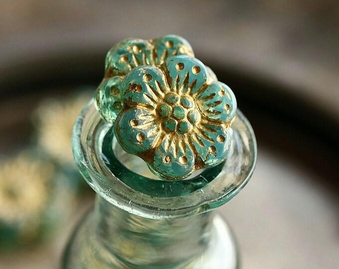 GOLDEN AQUA ROSES .. New 6 Premium Czech Glass Wild Rose Beads 14mm (8870-6)