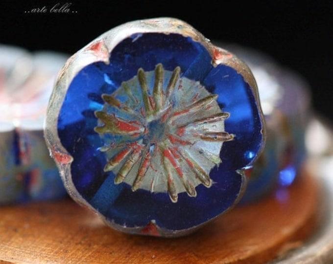 COBALT PANSIES .. 4 Picasso Czech Glass Flower Beads 14-15mm (4164-4)