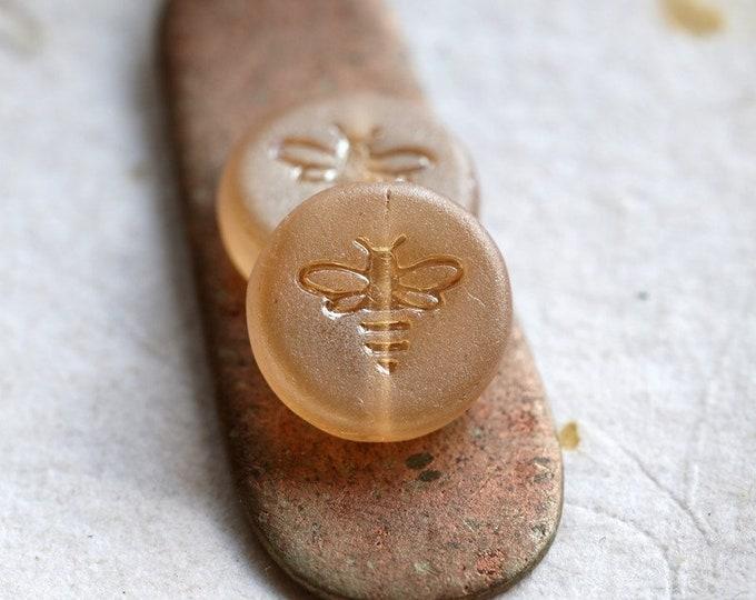 HONEY SHIMMER BIZZY B .. New 6 Premium Matte Luster Czech Glass Bee Coin Beads 12mm (8471-6)