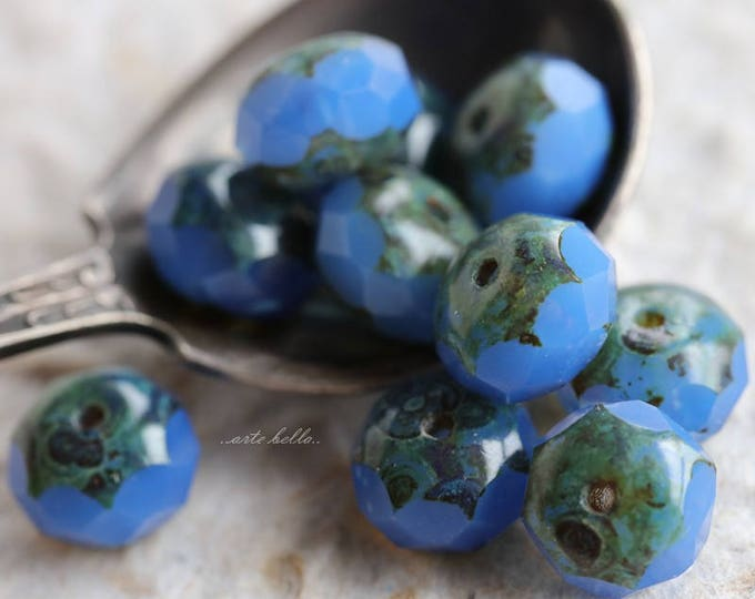 sale .. BLUE PENSTEMON .. 10 Premium Picasso Czech Glass Beads 6x9mm (5856-10)