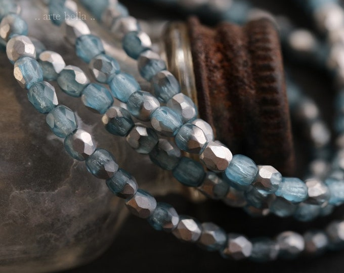 SILVER BLUE ICE 3mm .. 50 Premium Matte Faceted Czech Glass Beads 3mm (6600-st)