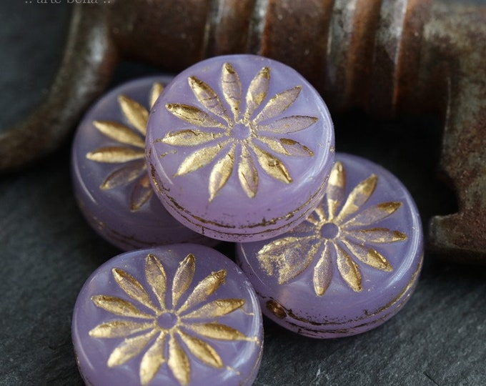 GOLDEN LILAC ASTER .. 4 Premium Picasso Czech Glass Flower Coin Beads 12mm (7436-4)