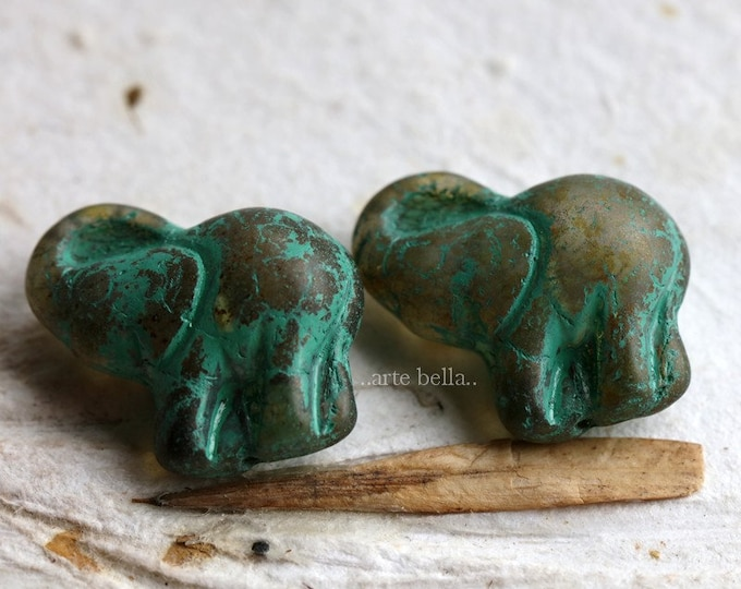 AMBER GREEN ELLE .. New 2 Premium Picasso Czech Glass Elephant Beads 20x23mm (7231-2)