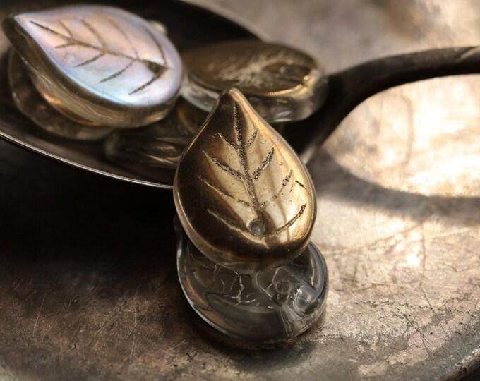 BRONZED GRAY LEAVES .. New 6 Premium Metallic Luster Czech Glass Leaf Beads 18x13mm (8862-6)