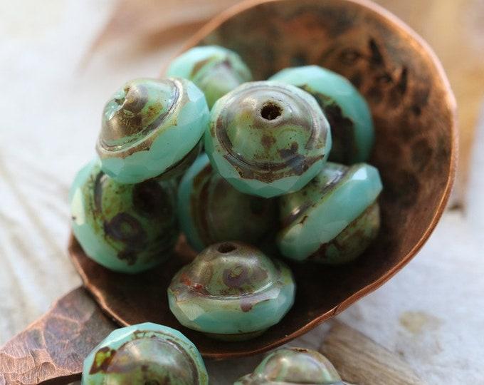 MINT BLISS .. 10 Premium Picasso Czech Glass Saturn Beads 8x10mm (7671-10)