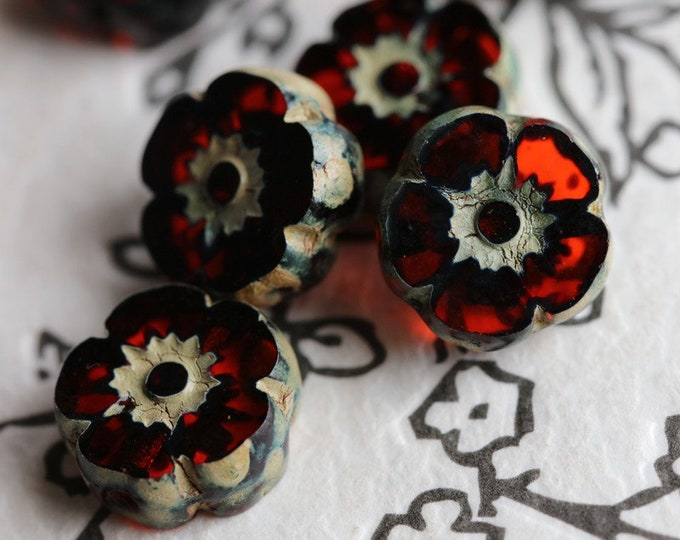 RIPE PERSIMMON PANSY .. New 6 Premium Picasso Czech Glass Flower Beads 10mm (7080-6)