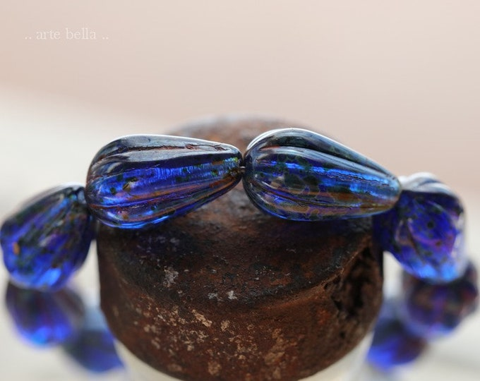 EARTHY COBALT MELON Drops .. 10 Premium Picasso Czech Glass Melon Drop Beads 13x8mm (7984-st)