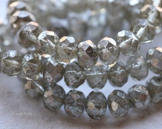 SILVERED MERCURY .. 10 Picasso Czech Rondelle Glass Beads 6x8mm (4907-10)