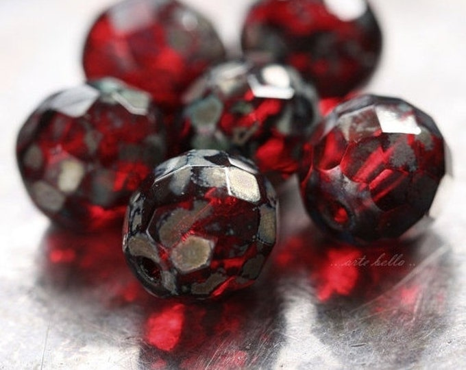 RED POPS .. 6 Premium Czech Faceted Round Glass Beads 11-12mm (2309-6)